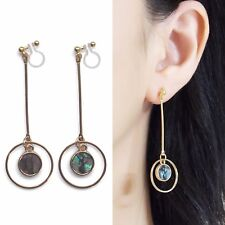 Round Abalone Shell Clip Earrings Dangle Gold Invisible Clip on Hoop Earring