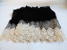 "Antique handmade Black net lace Ecru Embroidery 9"" w Scalloped Filet 4.33 yard"