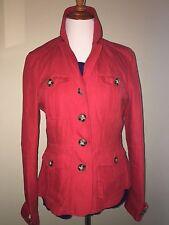 NWT Womens Burberry Brit Symdalemf Linen Field Jacket Orange Red Flare 10 $795