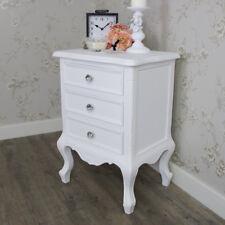 Elise White Range 3 Drawer Bedside Chest French Grey Bedroom Crystal Knob Handle