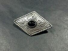 VINTAGE HANDMADE STERLING SILVER DIAMOND SHAPED CONCHO BROOCH PIN 925