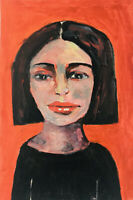 Original Outsider Art OOAK Painting Quietly Observing Katie Jeanne Wood