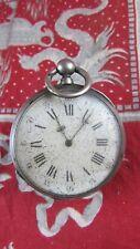 ancienne  montre a gousset  XIXe argent a clé clef 8 rubis 56