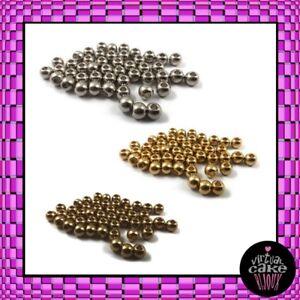 100pz PERLINE METALLICHE 3mm distanziali minuteria bijoux componenti faidate DIY