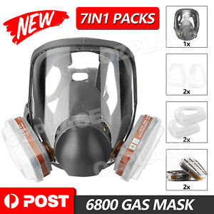Gas Mask 7 in 1 Full Face Chemical Spray Painting Respirator Vapour 6800 NEW