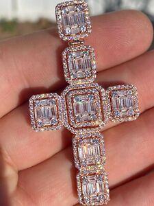"Rose Gold Over  Solid 925 Silver Men's Large Baguette Diamond Cross Necklace 2"""