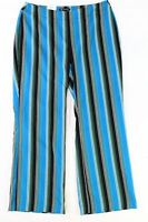 INC Womens Pants Blue Black Size 28W Plus Striped Side Zip Stretch (1018)