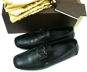 Louis Vuitton Black Leather Driving Shoes Mens Loafers LV Logo EUC W/Box Sz 8.5