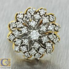 Vintage Estate 14k Solid Yellow White Gold 1.03ct Diamond Cluster Cocktail Ring