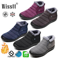 US Mens Womens Ankle Snow Boots Winter Fur Lining Slip On Flat Shoes Waterproof