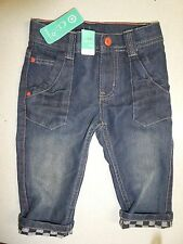 BNWT BOYS SIZE 1 SKINNY LEG DENIM JEANS ADJUSTABLE WAIST CHEQUERED FLAG CUFF NEW