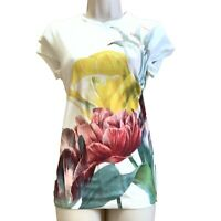 TED BAKER UK Size 10 12 Floral Tranquility Fitted Top Size 2 3 White Tee