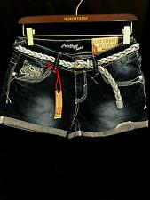 """Amethyst Jeans"" Women's Mid Rise Dark Denim Shorts Size 3 - New"