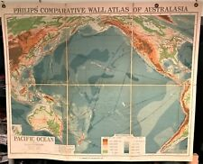 Original 1921 Philips' Comparative WALL Atlas ~ PACIFIC OCEAN ~ Land Depth Map