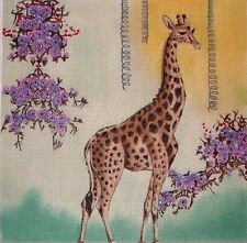 KW 929 Giraffe with Purple Flowers HP Hand Painted Needlepoint Canvas