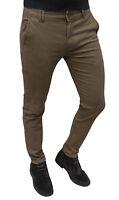 Pantalone uomo sartoriale casual marrone invernale in cotone da 44 a 54