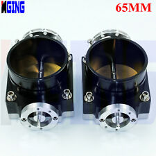 "65mm 2.5"" Inch Throttle Body Universal Racing CNC Billet Intake BLACK 2PCS"