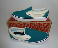VANS Ladies Classic Slip On Suede Trainers Shoes Green Comfycush New Size 6