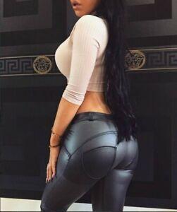 Women Sexy High Waist Skinny Faux PU Leather Leggings Pants Butt Lift Trousers