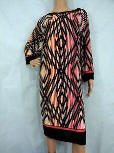 LONDON TIMES Black/Multi Geometric 3/4 Sleeve Jersey Shift Dress, Size 22W