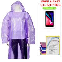 RAIN PONCHOS Survival W/Hood Drawstring FREE Phone Pouch Waterproof EMERGENCY