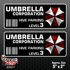 2 Pack UMBRELLA Hive Parking Level 3 Stickers Vinyl Decal Resident Evil #FS393