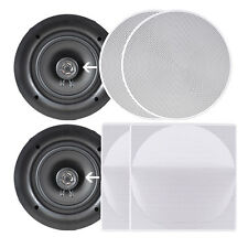 Pyle 8.0'' Wall/Ceiling Dual Stereo Speakers, 250 Watt 2-Way, Flush Mount, White