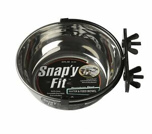 Snapy Fit Stainless Steel Food Water Small Dog Bowl Easy Remove Bracket 20 Oz