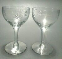 "2 Fostoria Starburst Crystal Wine Glasses 4 7/8"" discontinued Actual 1913-1924"