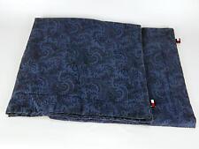 (2) Tommy Hilfiger Indigo Navy Blue Paisley Euro Pillow Shams 100% Cotton
