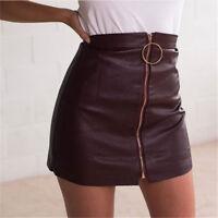 2019 Women Fashion Sexy Faux PU Leather Zipper Mini Above Knee Skirt Wrap Dress