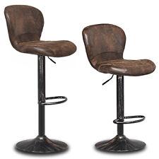 Set of 2 Adjustable Retro Swivel Bar Stool w/Backrest&Footrest Pub Kitchen Brown