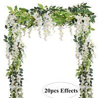 4Pcs 6.6Ft/Piece Artificial Flowers Silk Wisteria Garland for Home Wedding Decor