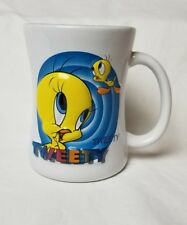 Warner Brothers Six Flags Tweety Cartoon Coffee Cup Mug Yellow Blue White Large