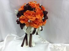 2pc Fall wedding bridal bridesmaid bouquet orange brown roses boutonniere