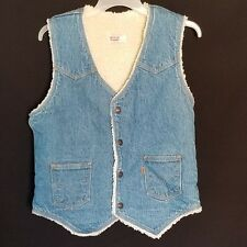 Vintage Mens Levi Denim Vest Medium Wash Front Pockets Snaps Sherpa Medium