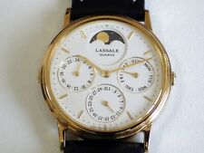 LASSALE SEIKO TIME CORP JAPAN MOON PHASE TRIPLE DATE, NEW OLD STOCK 80´S 1