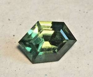 Sapphire Green & Gold Natural Genuine Earth Mined Untreated Free Form 8x5 1.1ct