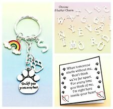 PET LOSS GIFT. YOU LEFT PAW PRINTS ON MY HEART. KEYRING. GIFT BAG & GIFT CARD