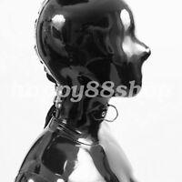 100% Latex Rubber Black Mask Masque Hooded Masquerade  Mask 0.4mm SizeXXS-XXL