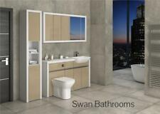 White / Cappuccino Gloss Bathroom Fitted Furniture With Wall Units 1900Mm