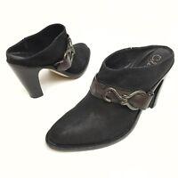 @@ Cole Haan Nikeair Women's Black Leather Heel Slip On Mule Shoe 9 N Slide EUC