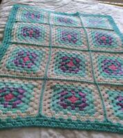 New Crochet Afghan Handmade Granny Square Blanket Sofa Throw