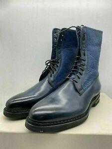 SANTONI Cashmere lined Bespoke Blue High Boots UK 7.5 (fit 8) RRP £1250