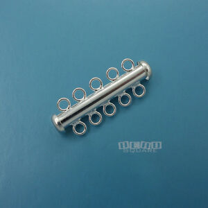 .925 Sterling Silver Multi Strand 5 Strand Tube Slide Clasp 30mm #33272