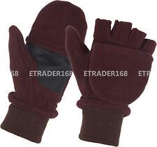 Fleece Convertible Fingerless Winter Warm Mitten Gloves Men Women Teens