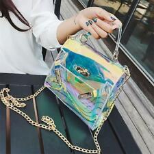 Fashion Women's Clear Tote Messenger Cross Body Shoulder Jelly Bag Laser Handbag