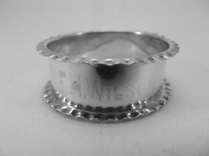 HM Silver Napkin Ring (398a) Birmingham 1910 by Henry Griffiths & Sons.