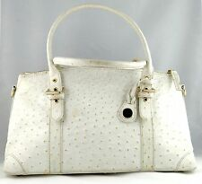 Womens Dooney & Bourke Bag Purse Handbag Cream Ostrich Embossed Leather