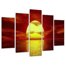 Set of 5 Piece Red Canvas Wall Art Pictures UK Sunset Living Room 5001